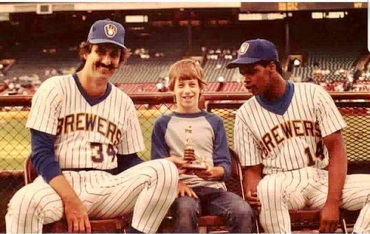 As a boy living in Whitefish Bay, Craig Counsell was always around the Brewers at County Stadium and got to hang out with players such as Rollie Fingers (left) and Dion James.