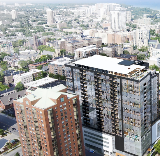 Unusual timber frame, 21-story apartment tower proposed for downtown Milwaukee