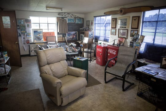 The interior of the Reese Airport is decked out with memorabilia from Steve Reese, the sole operator of the airport and the son of the airport's founder.
