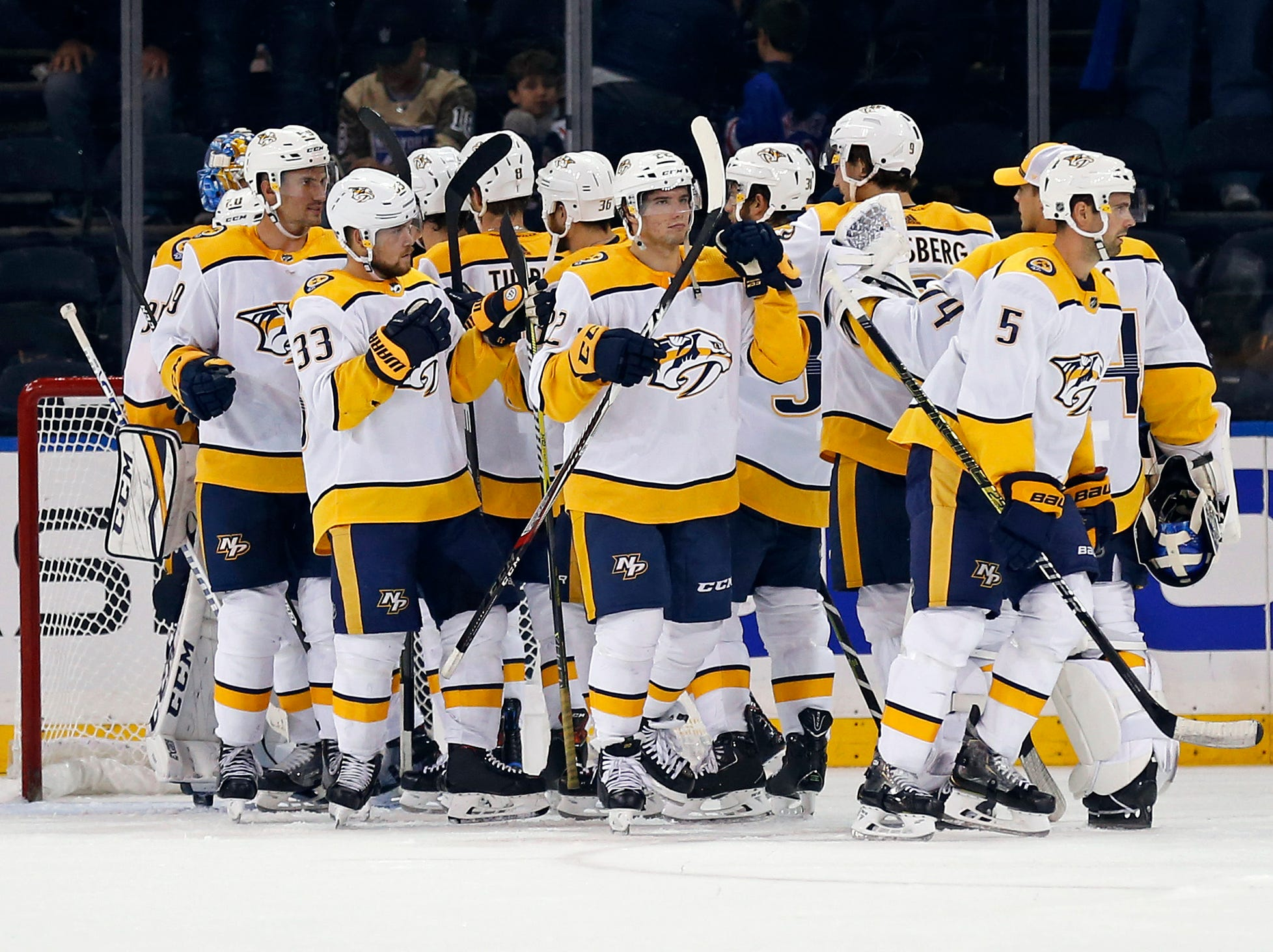 Oct 4, 2018, Predators 3, Rangers 2:  The Nashville Predators celebrate after defeating the New York Rangers at Madison Square Garden.