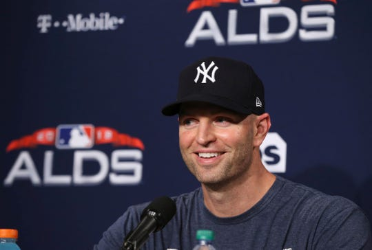 New York Yankees starting pitcher J.A. Happ speaks to reporters at Fenway Park, Thursday, Oct. 4, 2018, in Boston. The Yankees are scheduled to face the Boston Red Sox in Game 1 of a baseball AL Division Series on Friday.