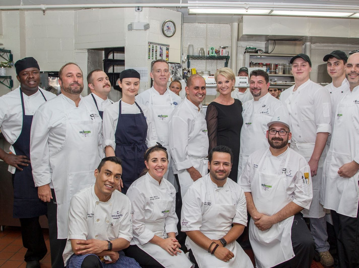 "Center Diana Lucia, with executive chefs from country clubs in the Northeast and Florida. Edgewood Country Club, in partnership with Golf Kitchen magazine, host the ""Golf Kitchen/Edgewood Fine Dining Soirée and Golf Kitchen Culinary Excellence Awards."" 10/04/2018"