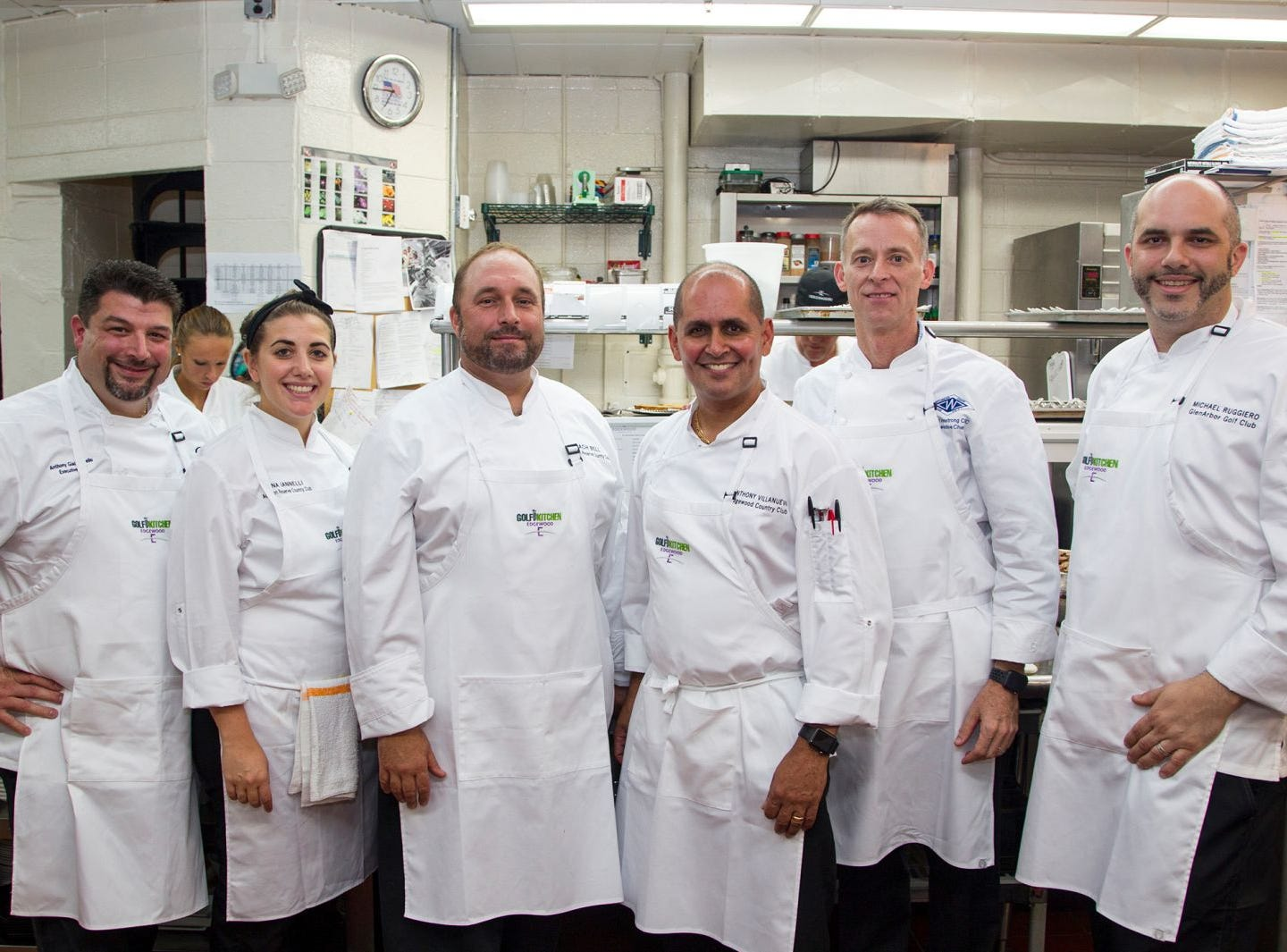 "Anthny Giacoponello, Dana Iannelli, Zach Bell, Anthony Villanuva,  Keith Armstrong, Michael Ruggiero. Edgewood Country Club, in partnership with Golf Kitchen magazine, host the ""Golf Kitchen/Edgewood Fine Dining Soirée and Golf Kitchen Culinary Excellence Awards."" 10/04/2018"