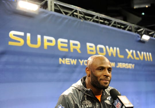 121933 Newark, NJ 1/28/2014 Denver Broncos Mike Adams meets the media on Media Day at the Prudential Center for Super Bowl XLVIII.