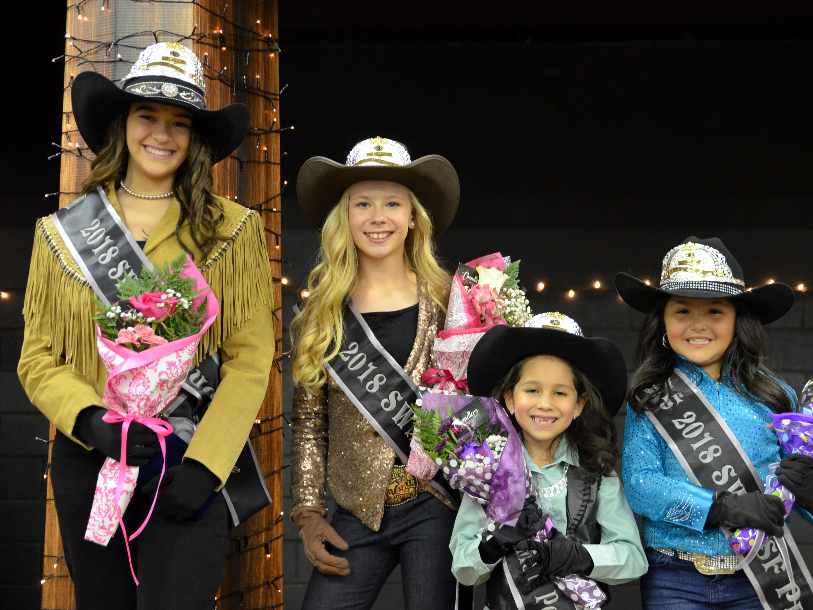 The 2018 Southwestern New Mexico State Fair Royalty are, from left, Melody Ruebush, queen; Blakely Hyatt, Princess; Xoe Grado, Pee Wee Princess; and Mariah Carlos, Junior Princess.