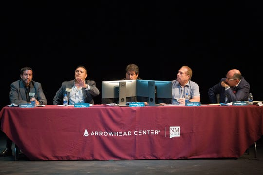 Business leaders Todd Bisio, from left, Beto Pallares-Venegas, Dino Cervantes, Royal Jones and Lou Sisbarro were the sharks in the Aggie Shark Tank, Thursday Oct. 4, 2018.