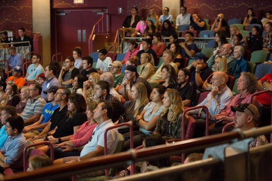 The ASNMSU Center for the Arts filled with people watching the Aggie Shark Tank Oct. 5, 2018.