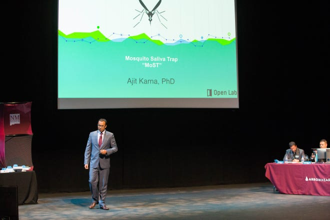 Ajit Karna, presenting MoSt , a product to help with the early warning of mosquito- borne viruses, presents to the Aggie Shark Tank Thursday October 4, 2018. One shark chose to invest $100,00 in his project.