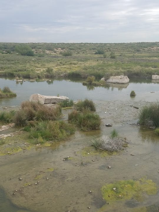 An old tire and some other litter are an eyesore in the Pecos River.