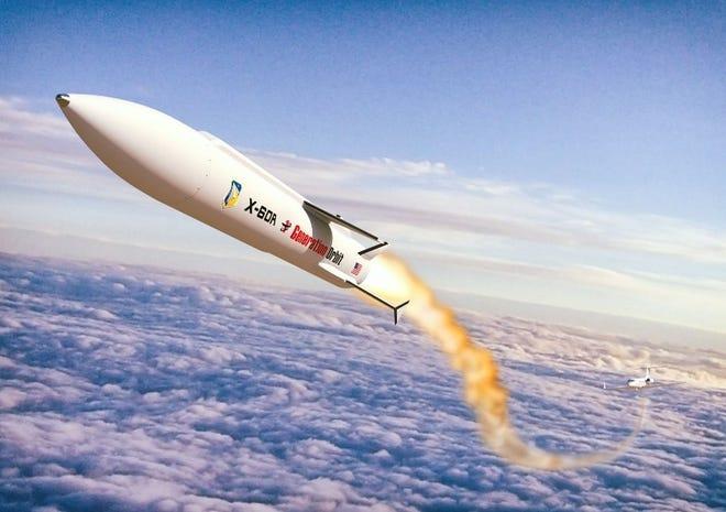 An artist's rendering of an X-60A launch.