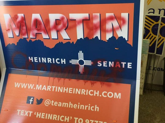 The vandalized signs were primarily on the southside of the city and included signs for Congressional candidate Xochitl Torres Small, Senator Martin Heinrich, and Representative Michelle Lujan Grisham.
