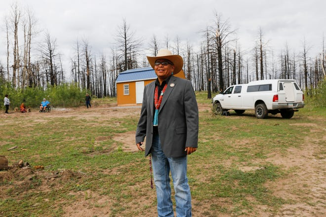 Navajo Nation Council Delegate Steven Begay talks about helping residents rebuild after the 2014 Asaayii Lake Fire Aug. 21 in the Ch'ooshgai Mountains' Naschitti Chapter area.