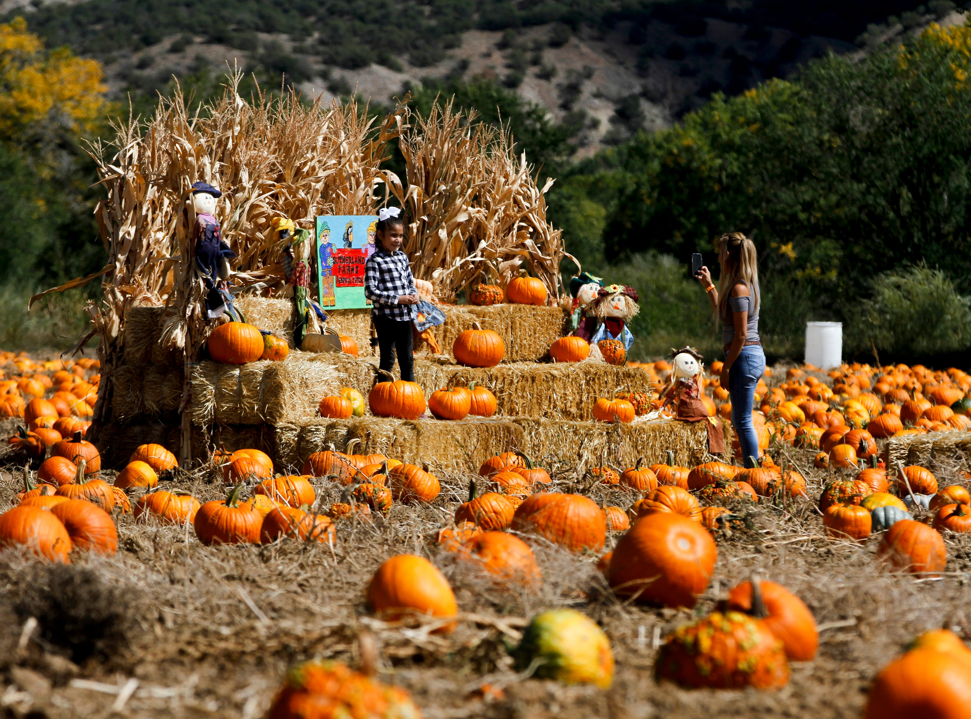 Josiphine Charley poses for a photo for her mother Cindy Charley, Friday, Oct. 5, 2018 while taking a break from searching for pumpkins at the Sutherland Farm's pumpkin patch in Aztec. The Pumpkin Festival begins today, Oct. 6, 2018.