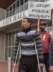 Ray Brown, on crutches, was Tasered while holding his infant son. Jerry Shingles was awakened in the middle of the night by Westland officers who were looking for his father. Shingles admitted to having outstanding warrants but said he was Tasered twice while being arrested even though he was not resisting.