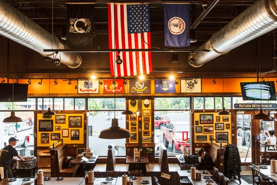 MISSION BBQ wears its patriotism throughout its restaurant, as shown here in the Charlottesburg, Va., location.