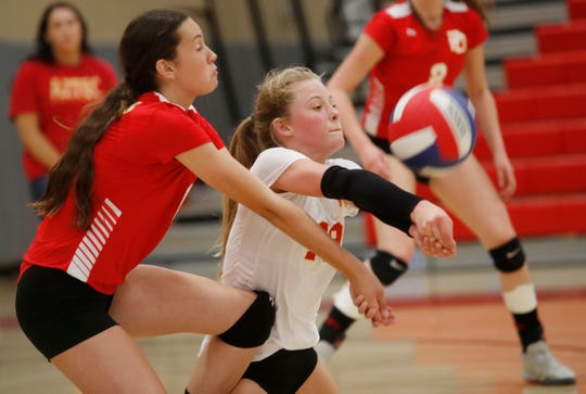 Palm Desert High School's Molly McCarthy plays a point against Xavier Prep's at Palm Desert on October 4, 2018. Xavier Prep won the match.