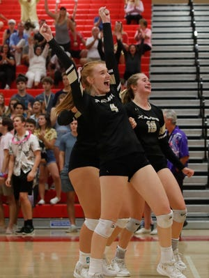 Xavier Prep's Jillian Whitcomb celebrates a win against Palm Desert earlier in the year. The Saints went on the road Wednesday and swept past Downey to move into the Division 4 semifinals.