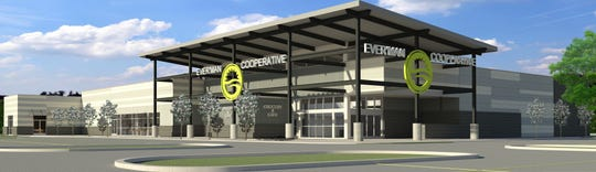 A rendering of the new Ever'man Cooperative Grocery & Cafe location on East Nine Mile shows what the store will look like in the daytime.