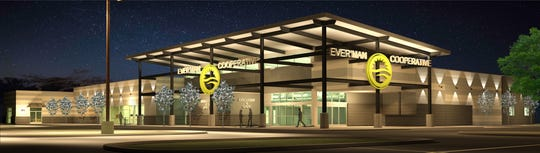 A rendering of the new Ever'man Cooperative Grocery & Cafe location on East Nine Mile shows what the store will look like at night.