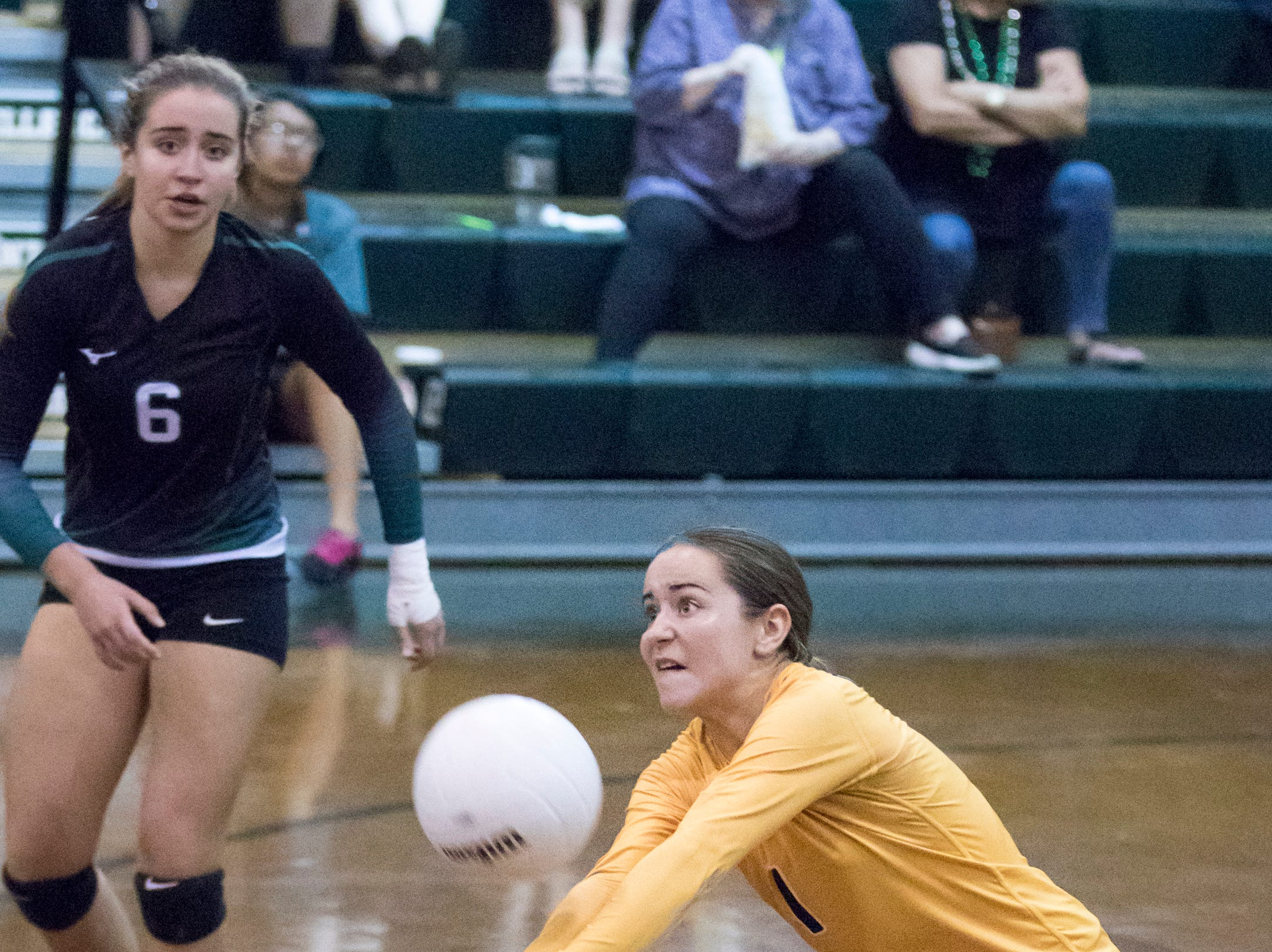 Madison Galloway (1) returns the ball during the Mosley vs Catholic volleyball match at Catholic High School in Pensacola on Thursday, October 4, 2018.