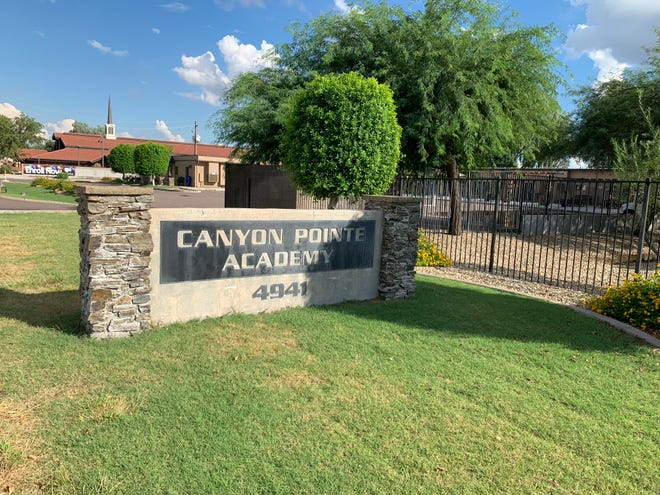 Outside Canyon Pointe Academy in Glendale. Canyon Pointe is a part of Pointe Schools, a charter operator that is at risk of closing.