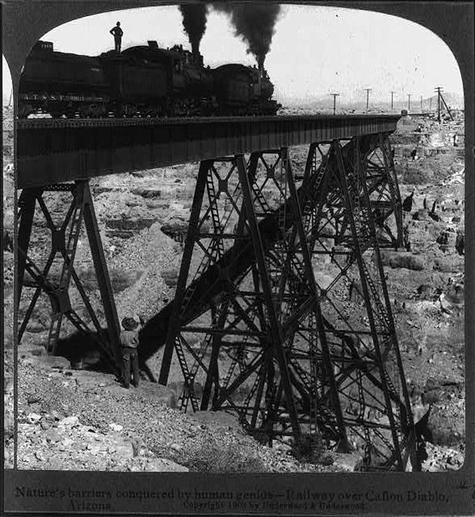 The bridge over Canyon Diablo took six months to build in 1881.