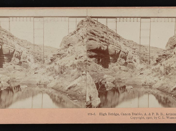 The bridge over Canyon Diablo, as seen in this 1900 stereoscopic image.
