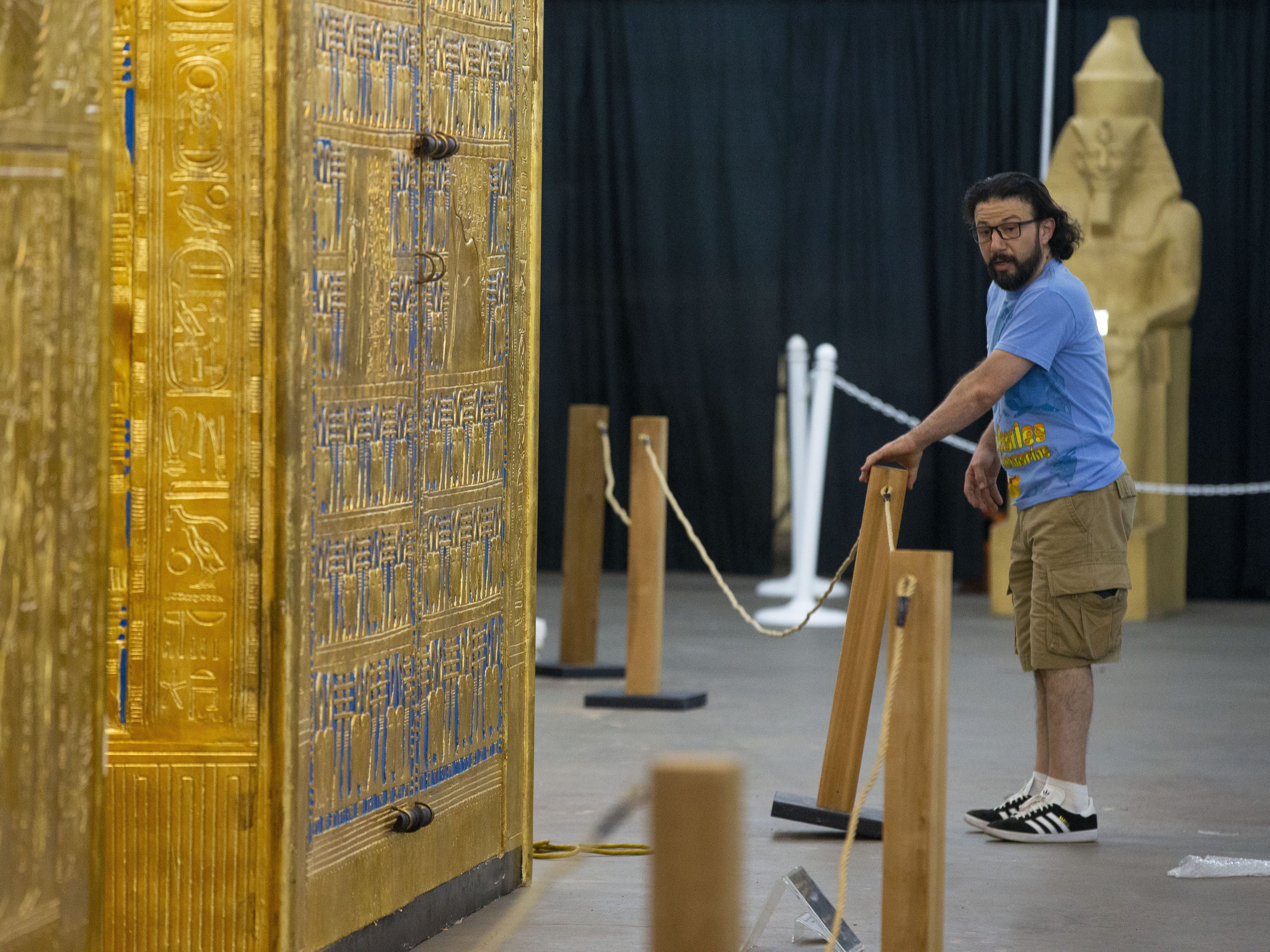 Mohammad Ragab helps set up the King Tut and the Egyptian Treasures exhibit at the Arizona State Fair in Phoenix. The Fair opens Friday, October 5.