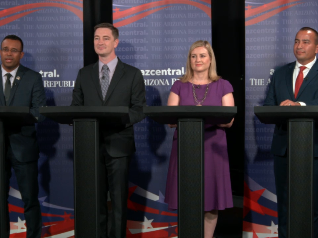 Moses Sanchez (L-R), Nicholas Sarwark, Kate Gallego and Daniel Valenzuela, candidates vying to replace former Phoenix Mayor Greg Stanton, face off in a debate in azcentral's studio on Oct. 4, 2018.