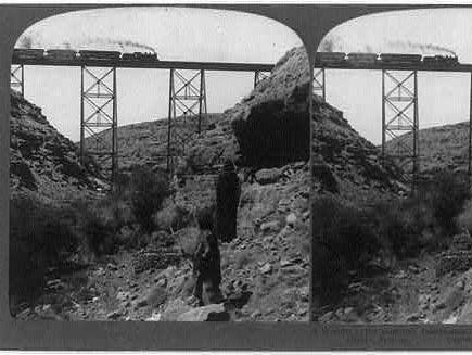 A stereoscopic image of the iron bridge over Canyon Diablo. The short-lived town of the same name sprouted as the bridge was built.