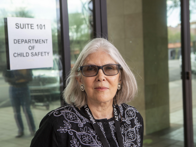 Malinda Sherwyn, one of the AZ DCS Oversight Group outside Mesa DCS office.