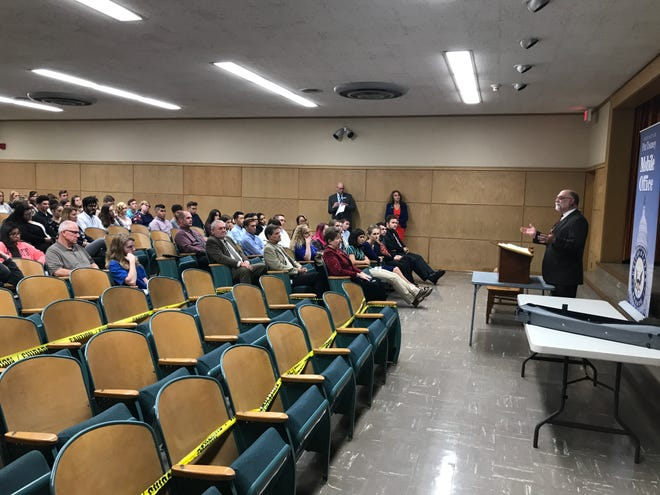 Lebanon County Court of Common Pleas Judge John Tylwalk speaks to students Friday at the first Youth Civic Engagement Symposium in the Lebanon County courthouse.