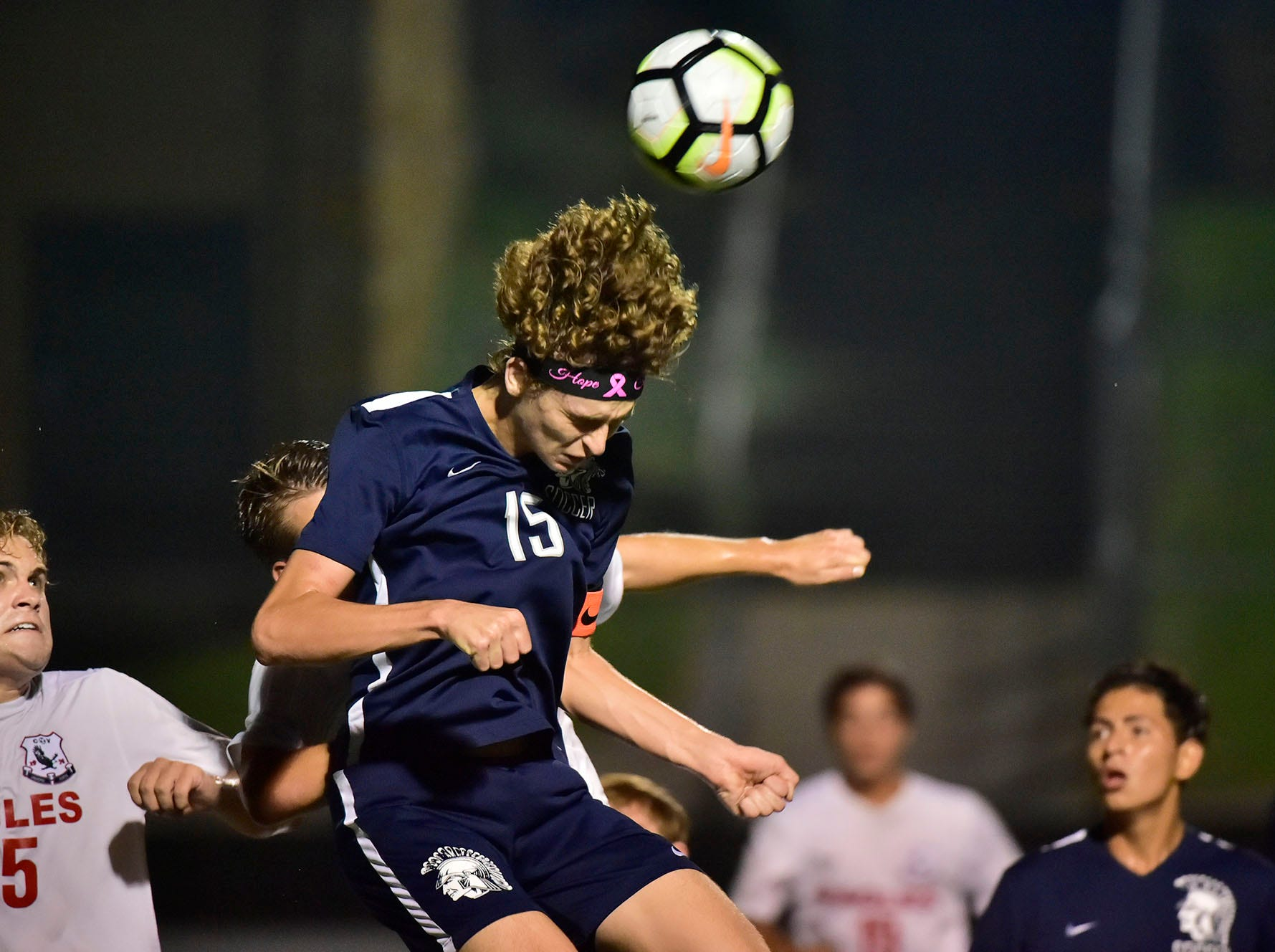 Chambersburg's Aaron Maynard (15) heads the ball. Chambersburg hosted Cumberland Valley in PIAA soccer on Thursday, Oct. 4, 2018, but dropped a 2-1 match in double overtime.