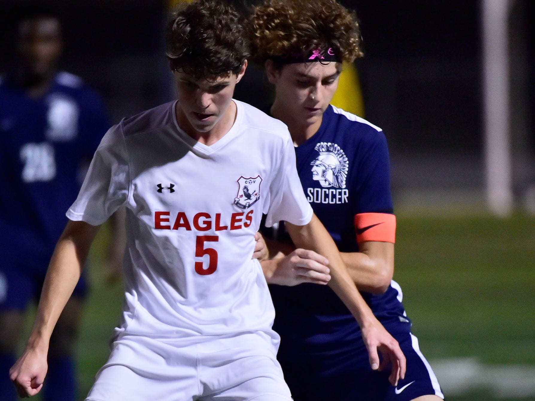 CV's Dominik Nitecki dribbles the ball in front of Chambersburg's Aaron Maynard. Chambersburg hosted Cumberland Valley in PIAA soccer on Thursday, Oct. 4, 2018, but dropped a 2-1 match in double overtime.