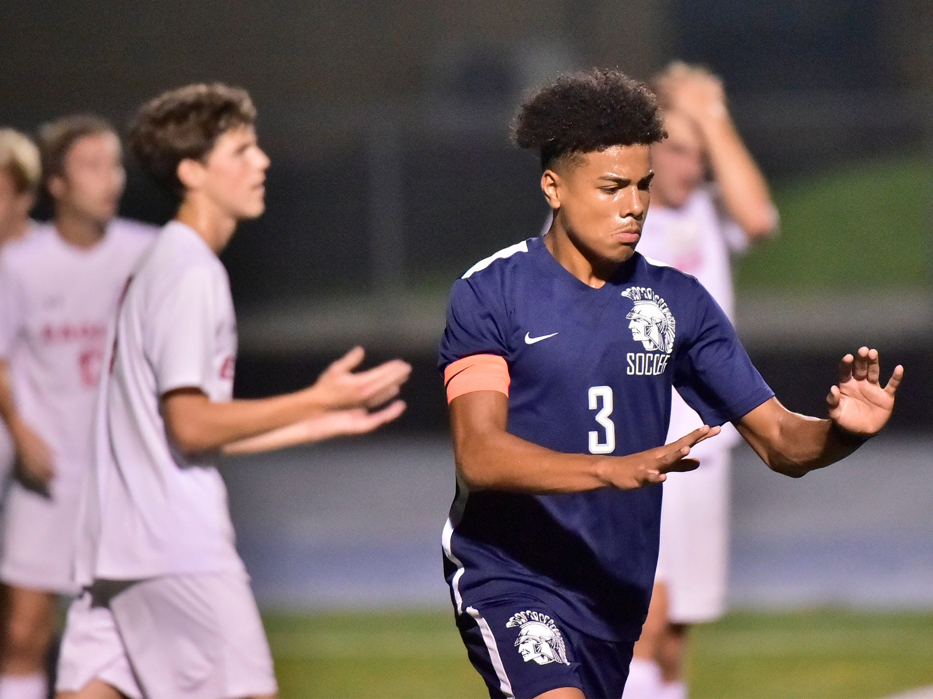 Chambersburg's Ebe Hewitt (3) celebrates a score over CV. Chambersburg hosted Cumberland Valley in PIAA soccer on Thursday, Oct. 4, 2018, but dropped a 2-1 match in double overtime.