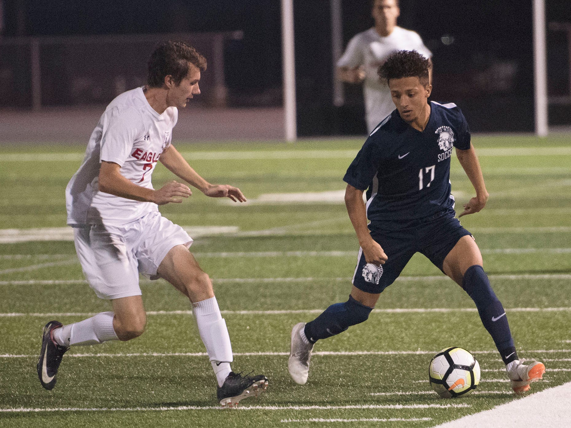 Chambersburg's Chuy Munoz dribbles the ball. Chambersburg hosted Cumberland Valley in PIAA soccer on Thursday, Oct. 4, 2018, but dropped a 2-1 match in double overtime.