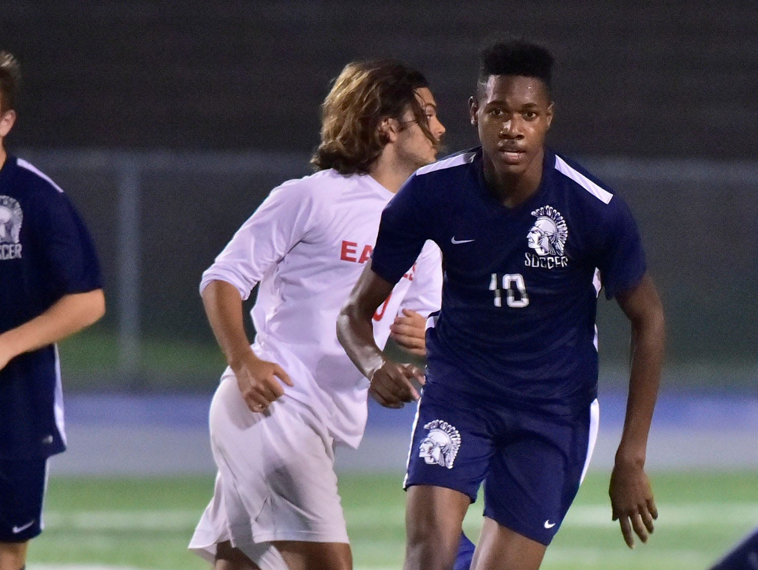 Omarlo Duncan (10) moves in on the ball for the Trojans. Chambersburg hosted Cumberland Valley in PIAA soccer on Thursday, Oct. 4, 2018, but dropped a 2-1 match in double overtime.