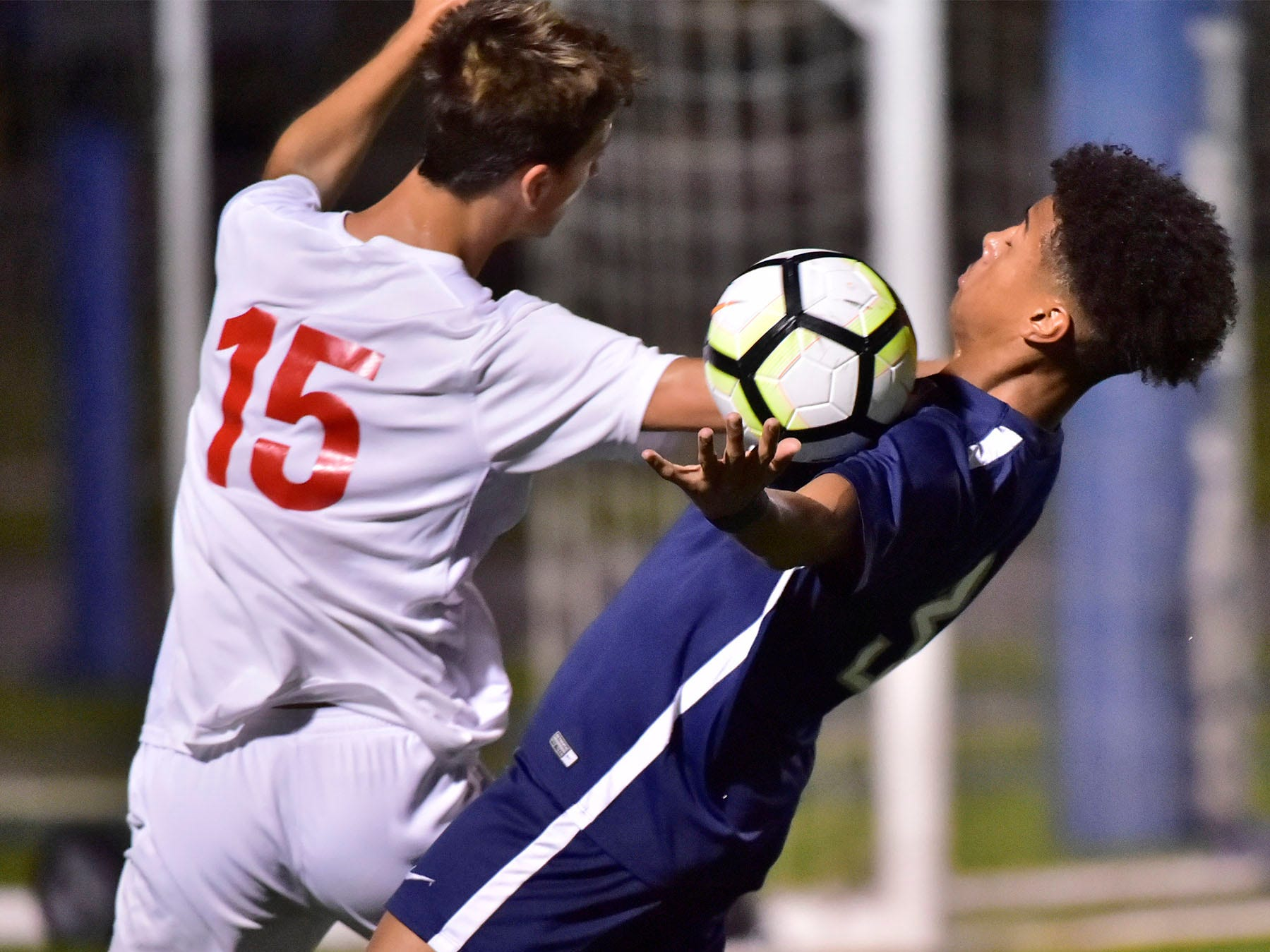 Chambersburg's Ebe Hewitt (3) plays the ball off his chest against CV's Bryar McAllister (15). Chambersburg hosted Cumberland Valley in PIAA soccer on Thursday, Oct. 4, 2018, but dropped a 2-1 match in double overtime.