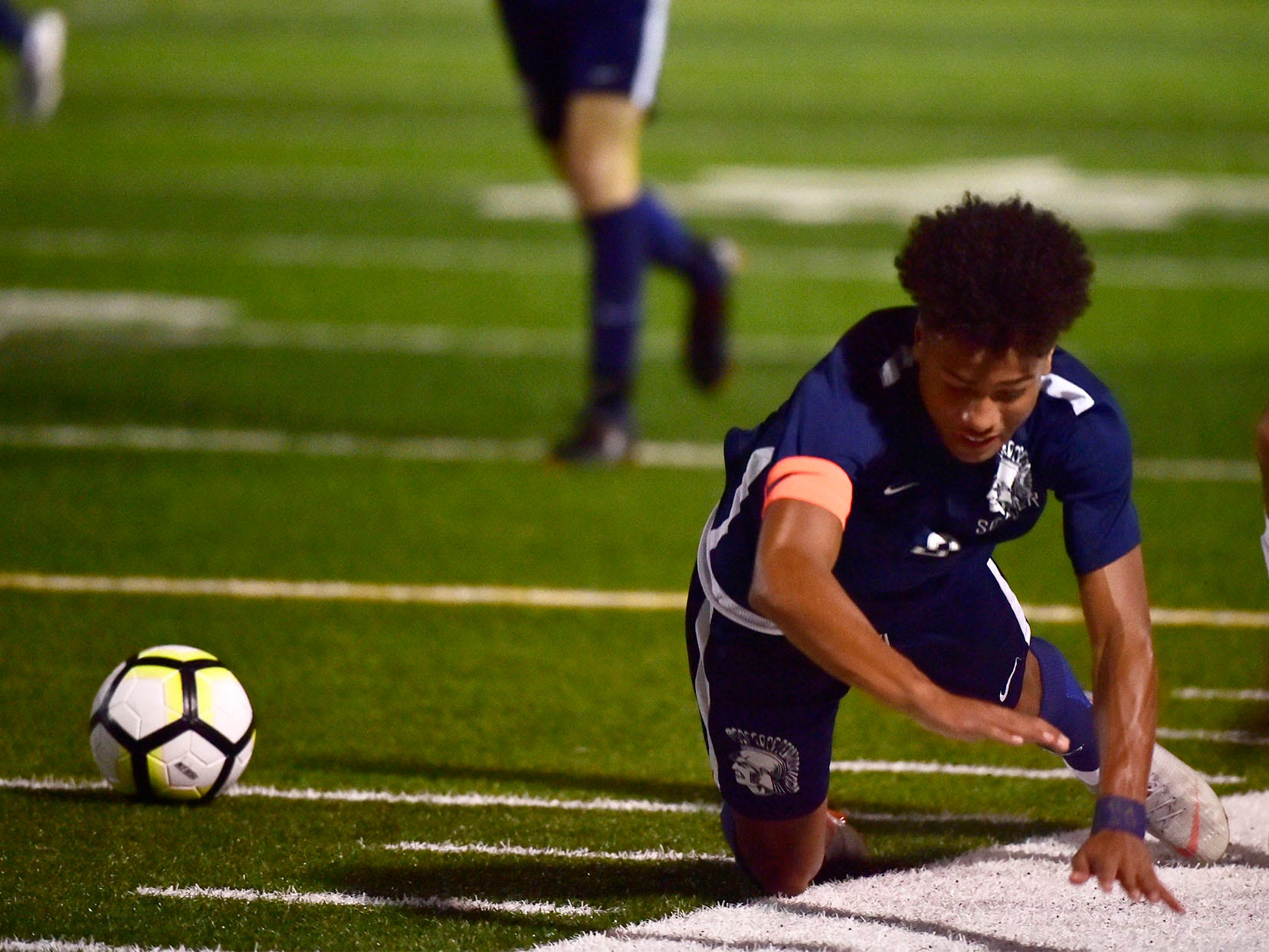 Chambersburg's Ebe Hewitt goes to the ground while chasing the ball. Chambersburg hosted Cumberland Valley in PIAA soccer on Thursday, Oct. 4, 2018, but dropped a 2-1 match in double overtime.