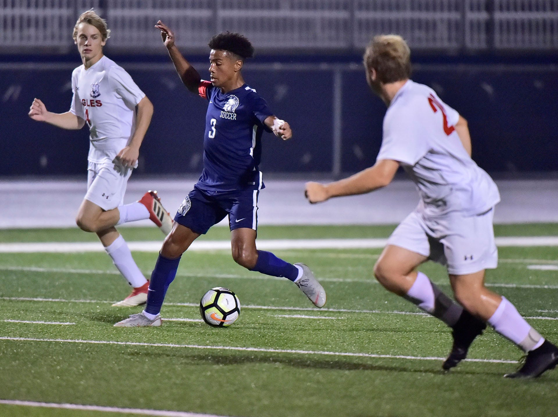 Chambersburg's Ebe Hewitt (3) works the ball between CV defenders. Chambersburg hosted Cumberland Valley in PIAA soccer on Thursday, Oct. 4, 2018, but dropped a 2-1 match in double overtime.