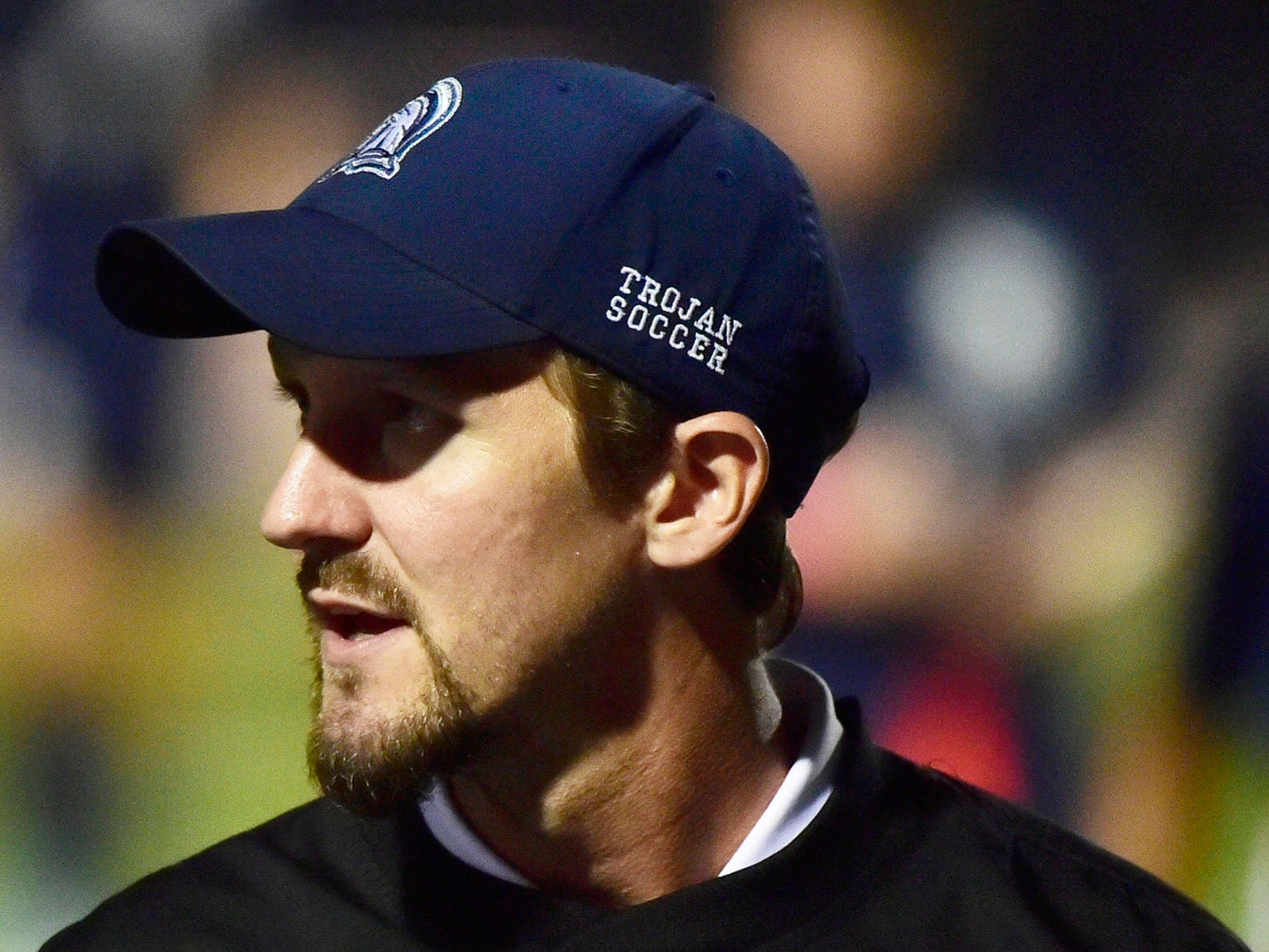 Corey Grove coaches the Chambersburg Trojans. Chambersburg hosted Cumberland Valley in PIAA soccer on Thursday, Oct. 4, 2018, but dropped a 2-1 match in double overtime.