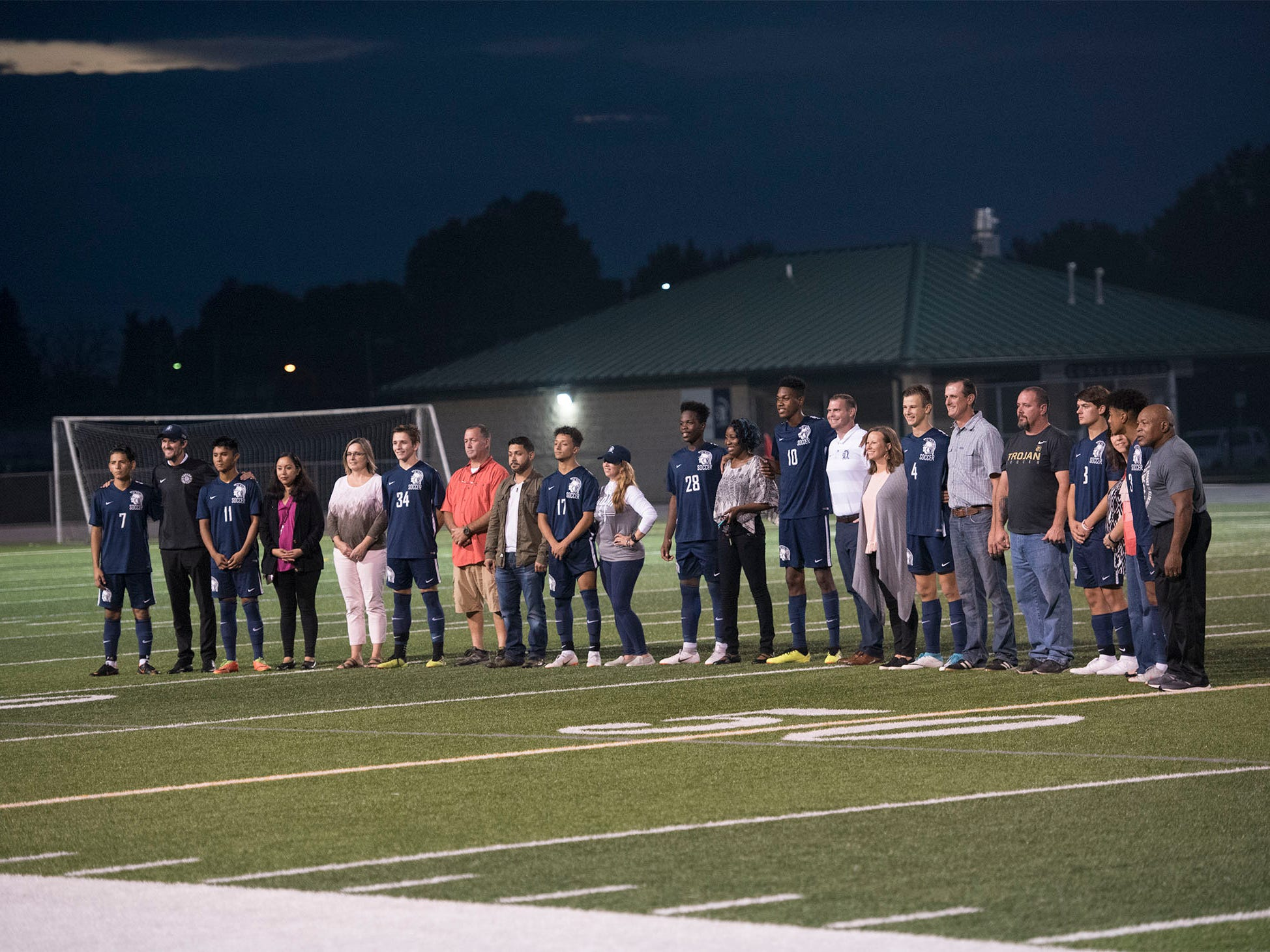 Trojan seniors were recognized before the game. Chambersburg hosted Cumberland Valley in PIAA soccer on Thursday, Oct. 4, 2018, but dropped a 2-1 match in double overtime.