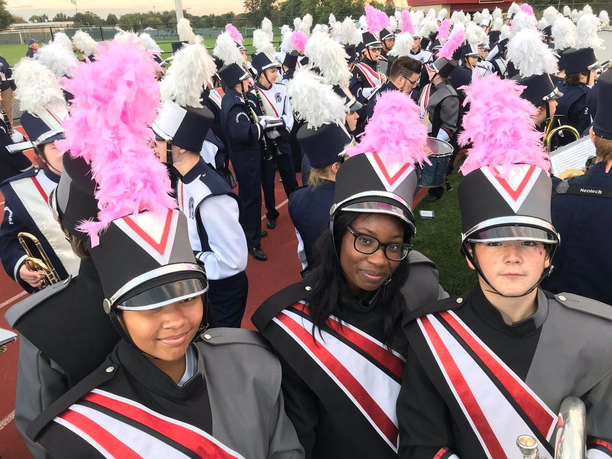 Some members of Chambersburg's band are sporting pink for Breast Cancer Awareness Month at Friday's game.