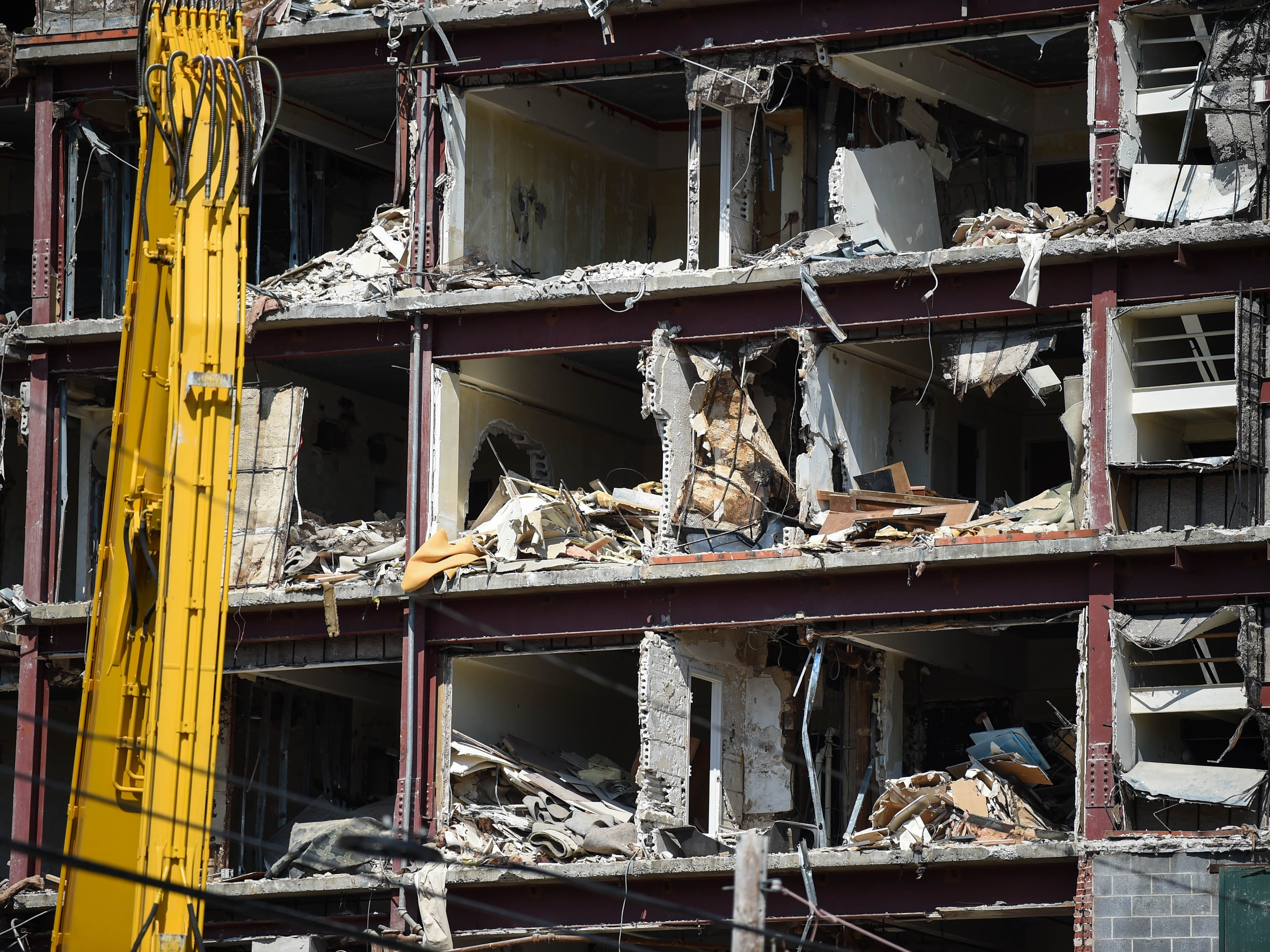 What used to be rooms at the Yorktowne Hotel have been thoroughly gutted on October 4, 2018.
