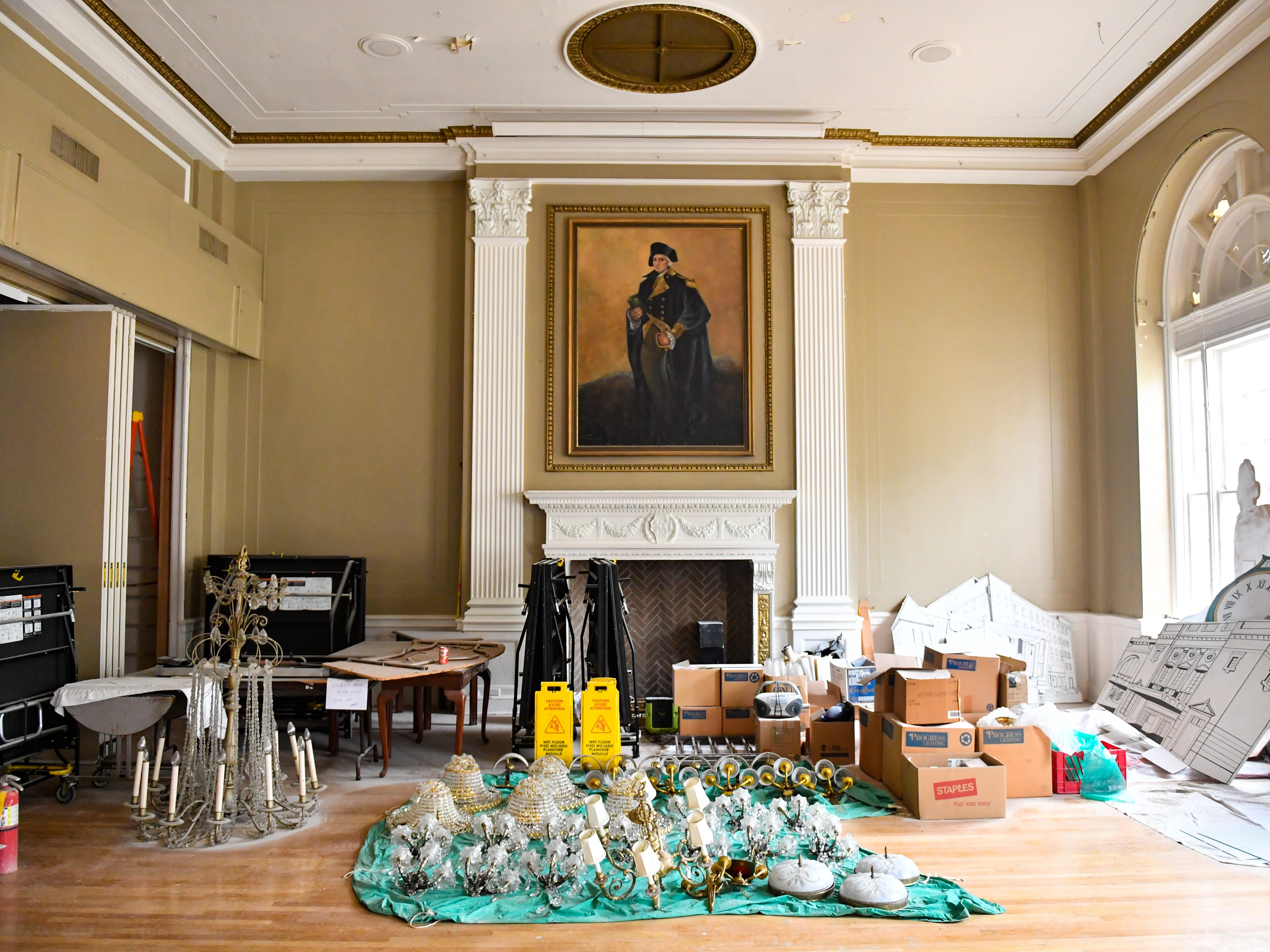 Fragile items are put in the ballroom at the Yorktowne Hotel on October 4, 2018.