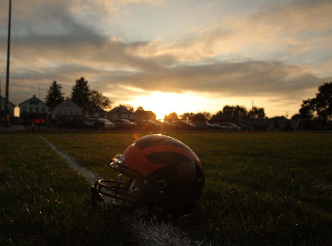 The sun sets as Hanover prepares to take on Littlestown Friday night.