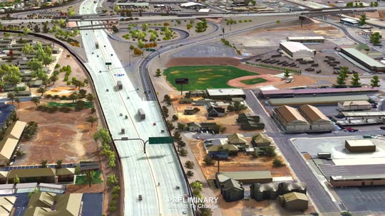 An aerial 3D rendering of the proposed Spagehtti Bowl Xpress project from the Nevada Department of Transportation.