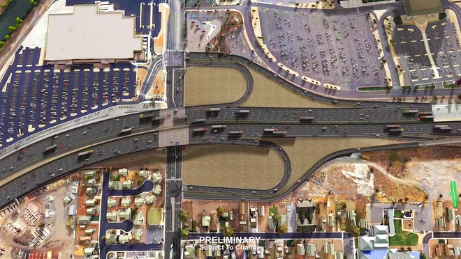 A top view 3D rendering of the proposed Spagehtti Bowl Xpress project from the Nevada Department of Transportation.