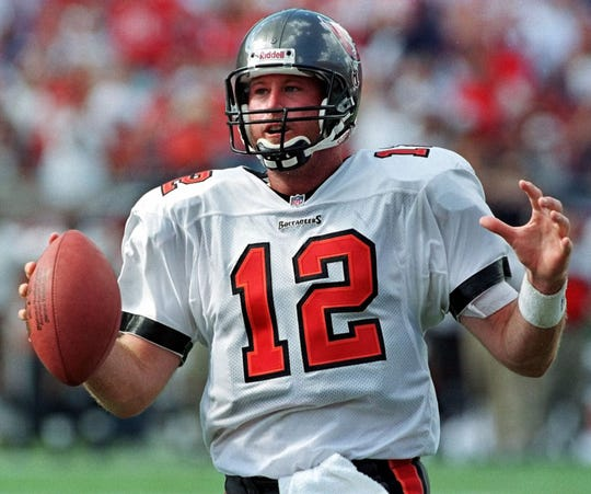 Tampa Bay Buccaneers quarterback Trent Dilfer runs for a one-yard touchdown during the fourth quarter of the Bucs' 16-13 win over the Carolina Panthers on Oct. 18, 1998, at Raymond James Stadium in Tampa, Fla. (