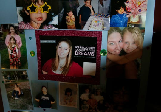 A collage of photos of Emily Short, 22, who died in September from a heroin overdose, that her mother, Tamara, displays at her house in Irondequoit.